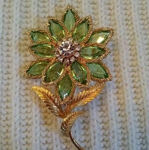 Vintage Flower Brooch Green Marquise Rhinestones